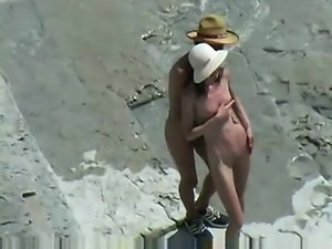 Couple fucks on nude beach