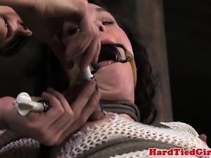Restrained sub gets suction punishment