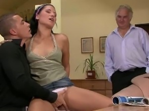 Old guy hooked up her horny wife to a young man