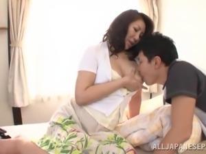 mature slut lets him lick her nipples