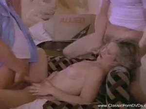 Vintage blonde gets banged hard by two dudes