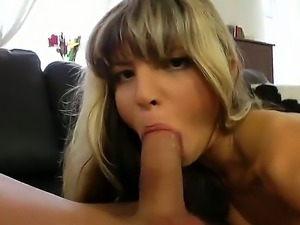Charming petite babe Doris wonderfully sucks a huge cock before getting her...