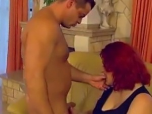 Redhead European BBW bouncing and moaning