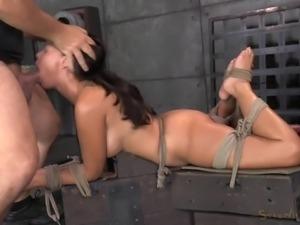 tied up slut has to suck cock