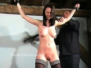 Hellpain whipping of tied Emily