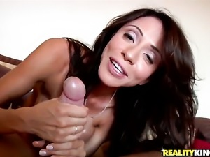 Brunette Ariella Ferrera with gigantic boobs is horny as fuck after sucking...