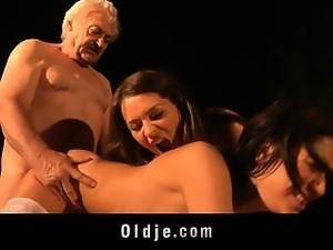 Grandpa Gustavo bangs with two nasty hotties