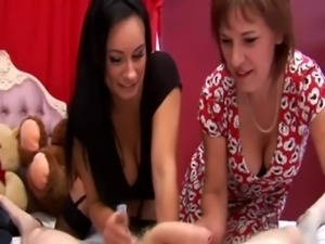 Two mature sluts love teasing him whille he is hard free