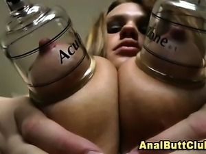Nipple clamped big assed booty babe