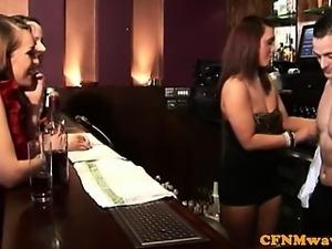 Naughty CFNM femdom babes jerking dude