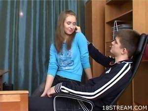 Skinny teen is giving hunk a lustful and obscene fellatio