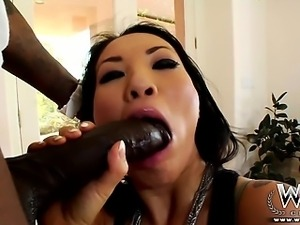 Asian babe loves getting a big black cock anal