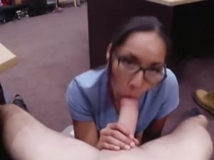 Desperate latina nurse in glasses trades her muff with cash