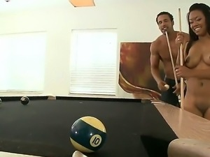 Black man and his sexual girlfriend Melody Nakai are playing pool. They feel...