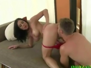 Brunette Babe Sucks a cock and gives a Titjob