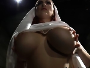 Big tits slutty nun scolds sinner