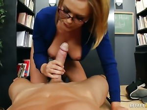 Krissy Lynn with big hooters is too horny to stop sucking Johnny Sinss hard...