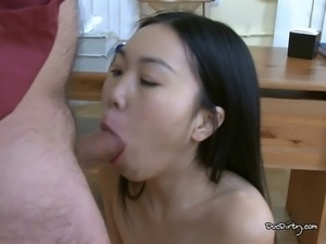 The small Asian shoves the cock in her mouth after the banging excited to...