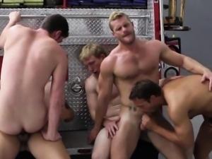 Gay firefighters enjoying gang fuck