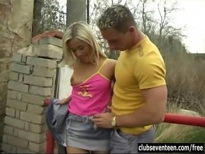 Salacious blonde teen Josje suck and fuck cock outdoors