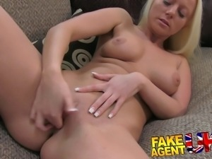 Multiple orgasms from petite blonde on casting couch