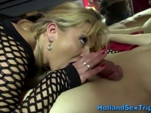 Real stockings and lingerie euro whore sucks dick in hd