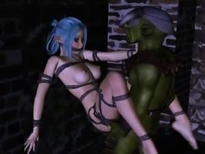Hot 3D cartoon elf babe gets fucked hard by a goblin