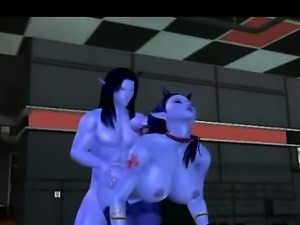 Blue skinned 3D cartoon babe gets fuckced hard