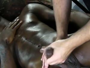 Black straight guys handjob at massage