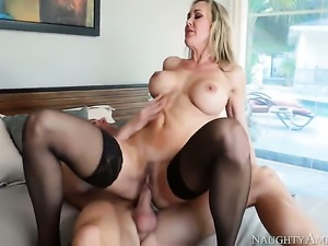 Johnny Sins attacks playful Brandi LoveS pussy hole with his love torpedo