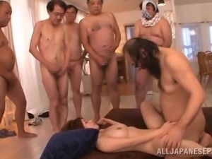 big boobed japanese slut gets gangbanged hard