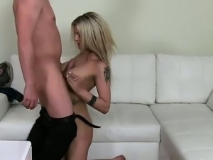 Tattooed busty amateur bimbo fucking on casting