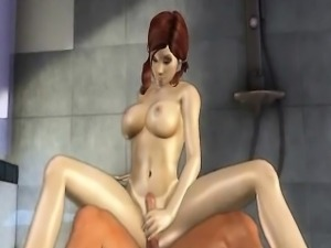 Busty 3D cartoon brunette hottie getting fucked hard