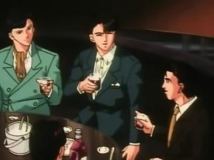 Anime homosexual guys in dark room