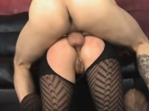Brunette Sloppy Face And Doggystyle Fucking On Leather Sofa