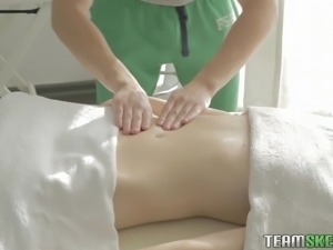 flat chested blondie in a massage session