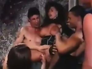 Busty Slut In A Gang Bang
