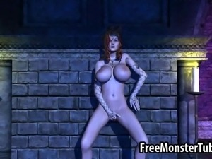 Beautiful big breasted 3D cartoon redhead hottie fingering and toying her...