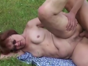 Kinky granny wants to fuck her boytoy outside