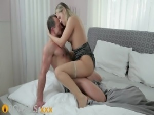 ORGASMS beautiful blonde with amazing tits cant wait to ride his cock free