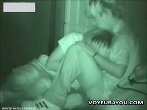 Amateur couple get caught playing in the dark
