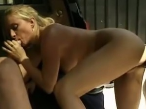 Slender blonde butt banged outdoors