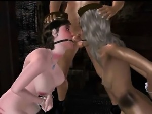Tied up 3D cartoon brunette gets toyed and fucked