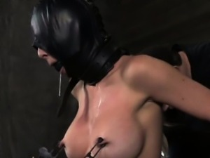 Slave masked sub punished with pegs