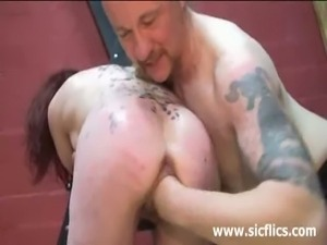 Slave girl gets fist fucked into orgasm