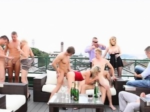 Bisex babes stroke and suck cock
