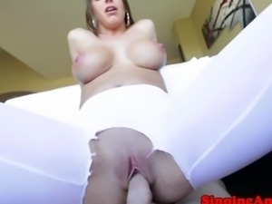 Busty babe fucking and flashing her ass