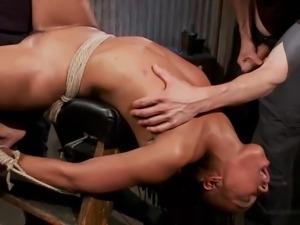 ebony slave gets fucked hard from both ends