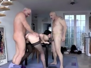 Blowjob of two cocks for mature British lady
