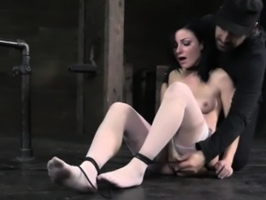 Hogtied bdsm fetish sub clit stimulated